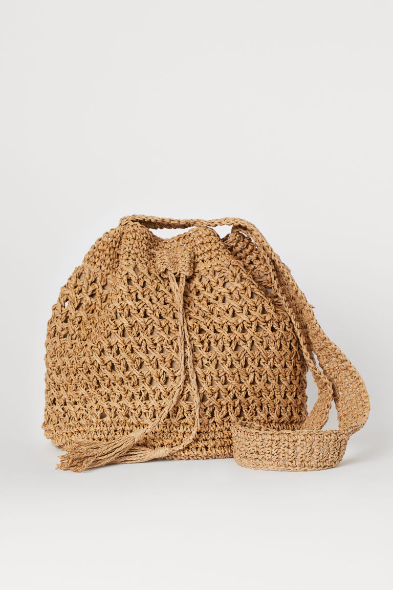 Straw bucket bag - Dark beige - Ladies | H&M CN