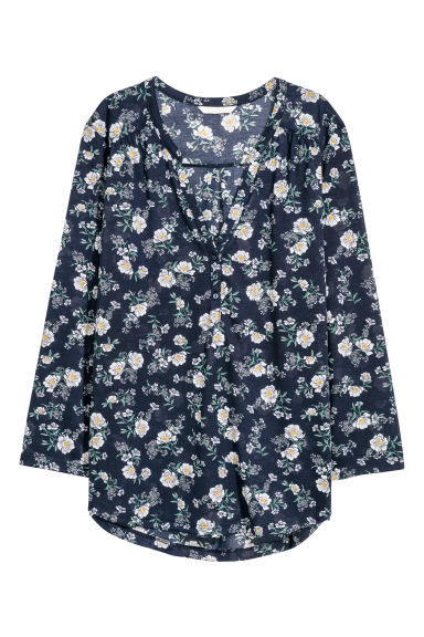 V-neck top - Dark blue/Floral -  | H&M