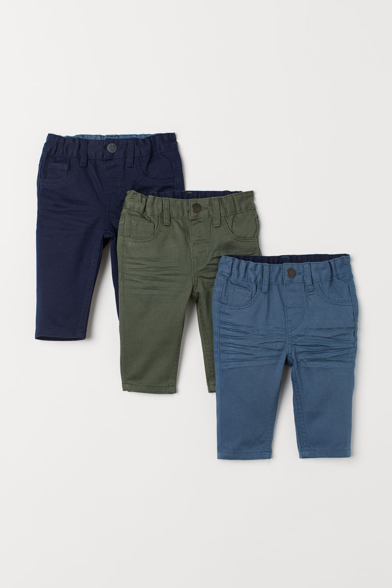 3-pack twill trousers - Blue/Green - Kids | H&M GB