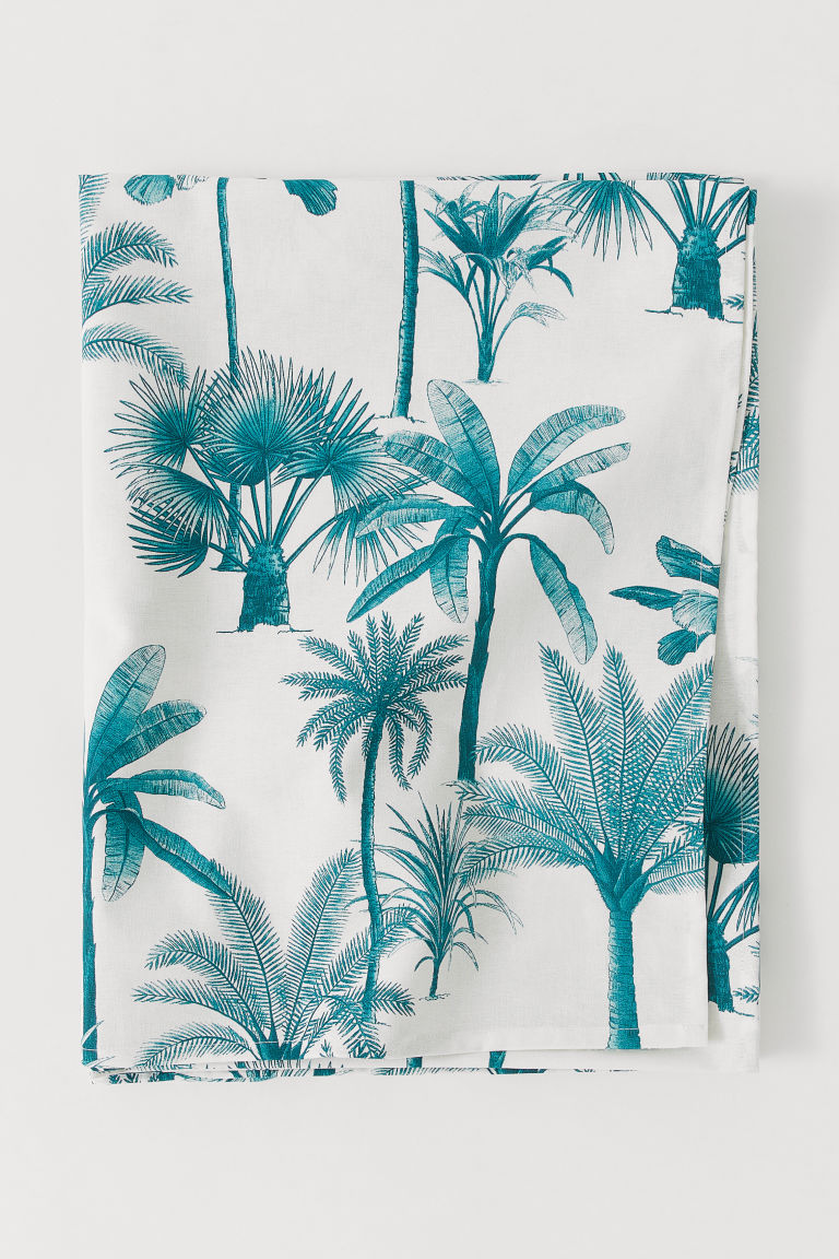 Mantel estampado de algodón - Blanco natural/Palmeras - HOME | H&M ES