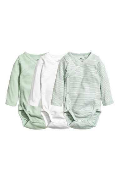 Body incrociati, 3 pz - Verde nebbia - BAMBINO | H&M IT