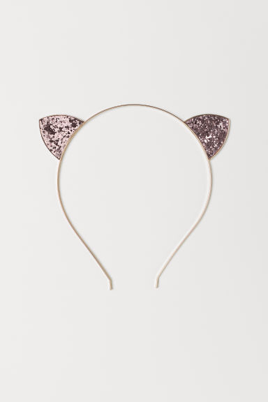 Alice band with ears - Gold/Pink glitter - Kids | H&M CN
