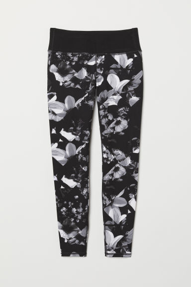 Yoga tights Shaping Waist - Black/Floral - Ladies | H&M