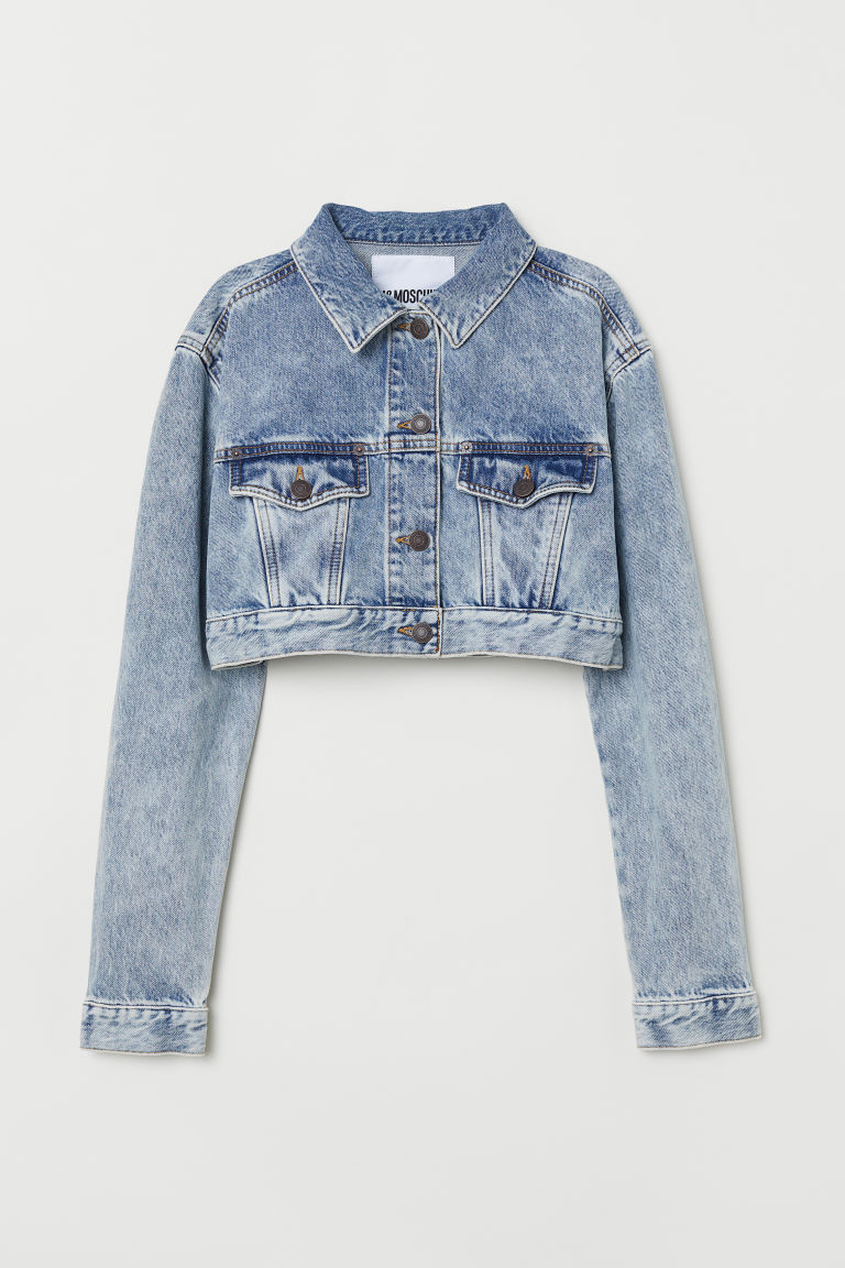 Cropped sparkly denim jacket - Denim blue - Ladies | H&M CN
