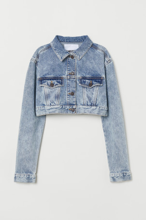 Cropped sparkly denim jacket