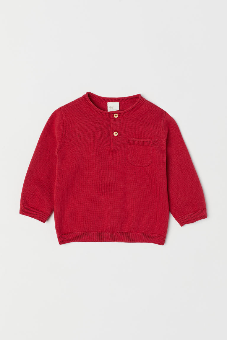 Fine-knit cotton jumper - Raspberry red - Kids | H&M CN