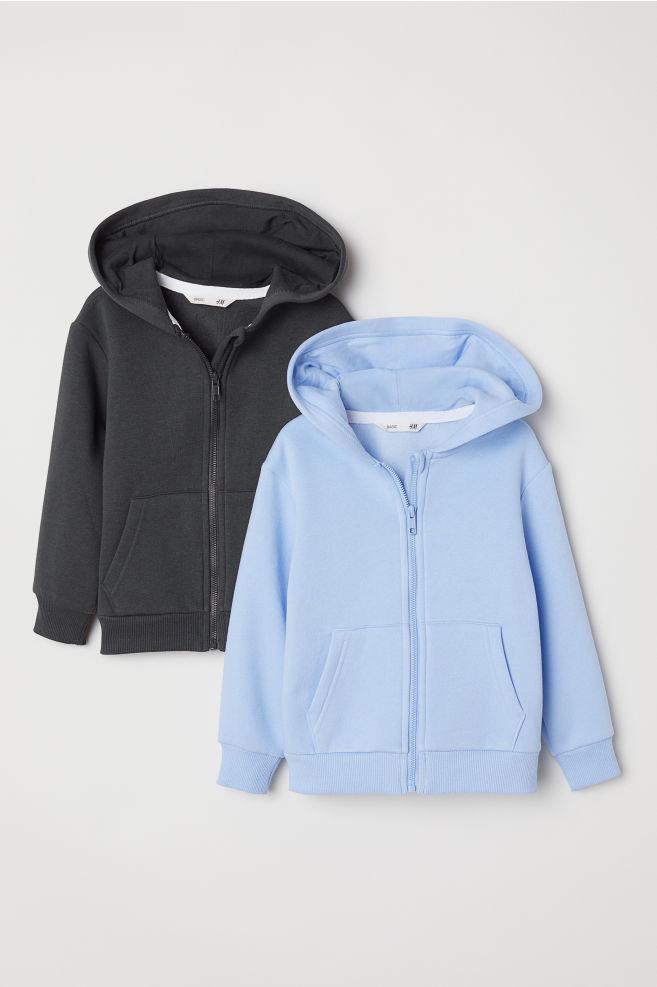 ce9a766ecfb4 2-pack Hooded Jackets - Light blue dark gray - Kids