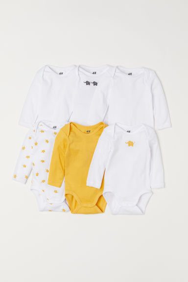 6-pack long-sleeved bodysuits - Yellow/Elephants - Kids | H&M CN