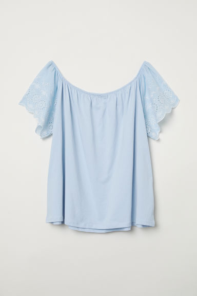 H&M+ Top with embroidery - Light blue - Ladies | H&M CN