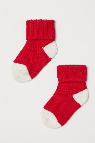 Textured-knit socks - Red - Kids | H&M
