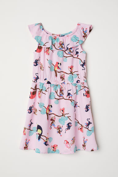 Patterned dress - Pink/Monkeys - Kids | H&M