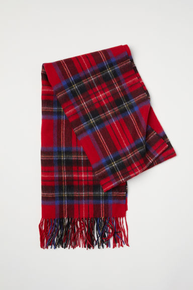 Wool scarf - Red/Checked - Men | H&M CN