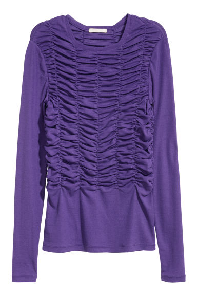 Top in jersey arricciato - Viola -  | H&M IT