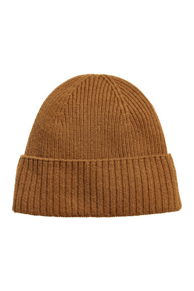 Ribbed cashmere hat - Camel -  | H&M