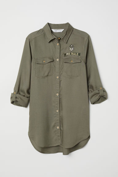 Shirt with appliqués - Khaki green - Kids | H&M CN