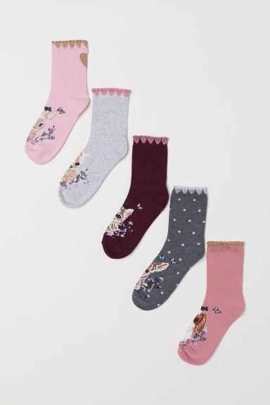 5-pack socks - Light grey/Animals - Kids | H&M