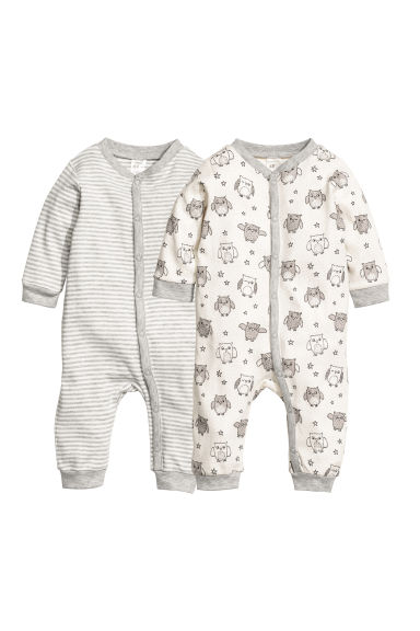 Pigiami in jersey, 2 pz - Bianco naturale/gufo -  | H&M IT