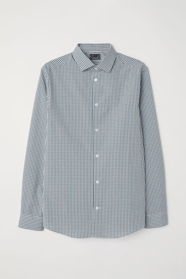 Premium cotton shirt - Dark green/Checked - Men | H&M