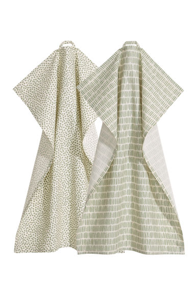 2-pack tea towels - Natural white/Green - Home All | H&M GB