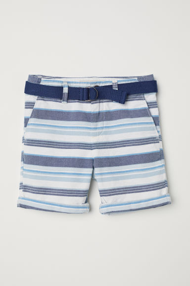 Shorts with a belt - Natural white/Striped - Kids | H&M CN