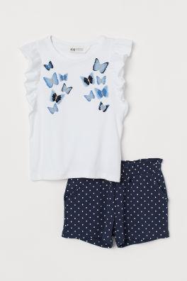692722d26d5 Flounced top and shorts