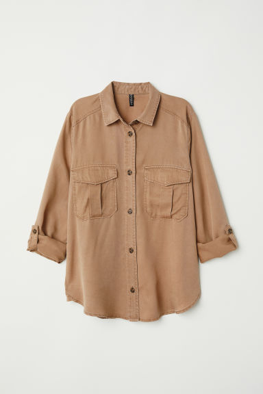 Lyocell utility shirt - Dark beige - Ladies | H&M CN