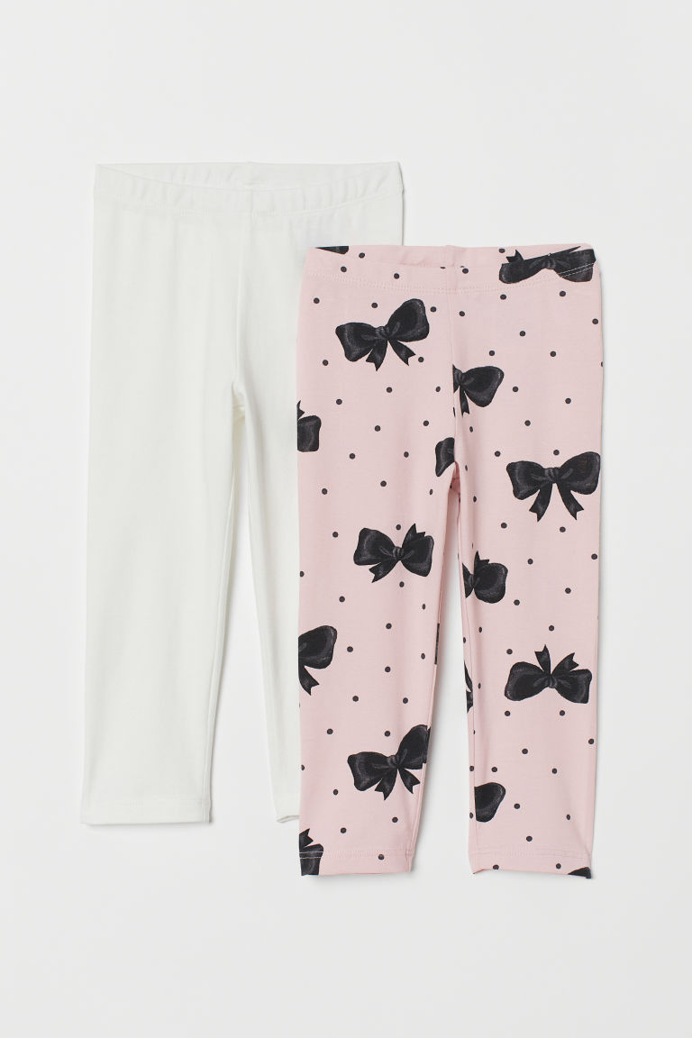 2-pack 3/4-length leggings - Light pink/Bows - Kids | H&M GB