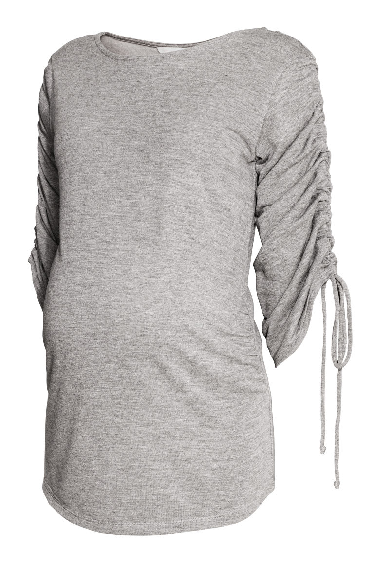 MAMA Top with gathered sleeves - Light grey marl - Ladies | H&M