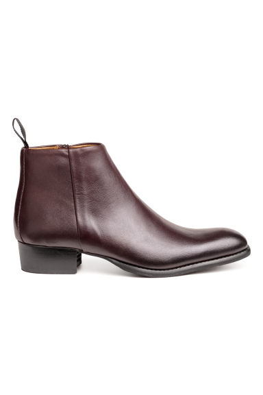 Leather Chelsea boots - Dark red - Men | H&M
