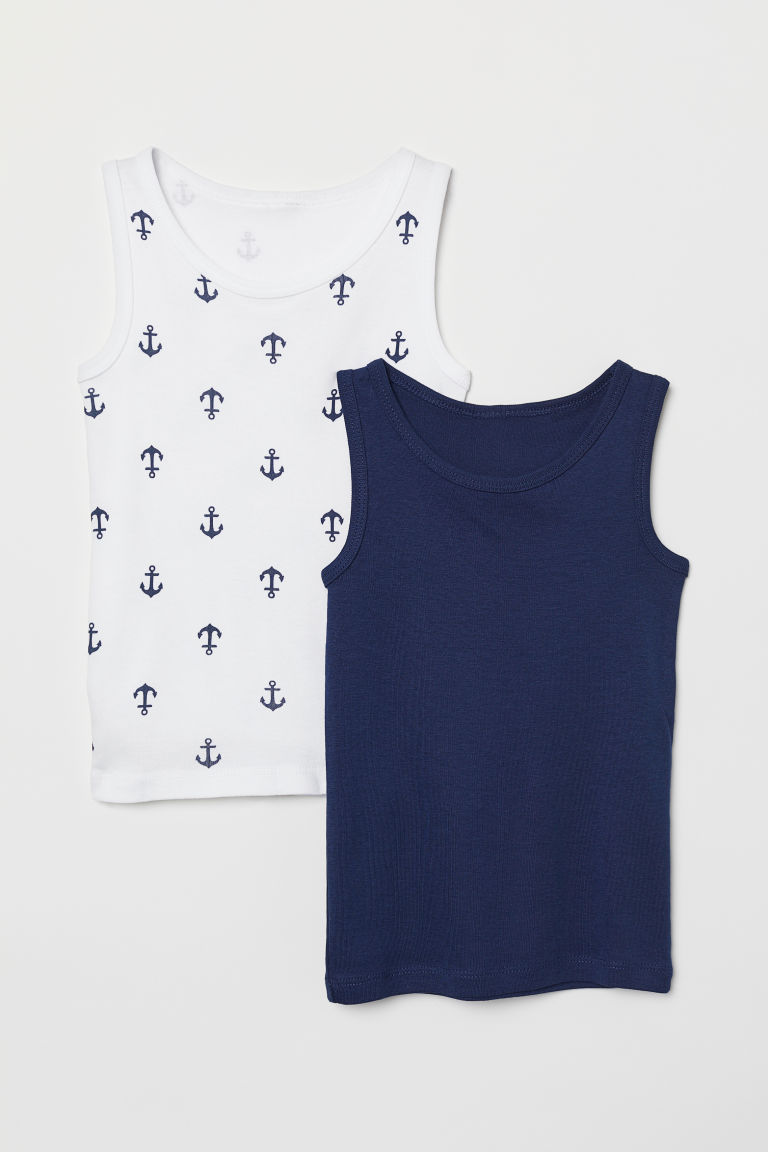 2-pack vest tops - Dark blue/Anchors - Kids | H&M