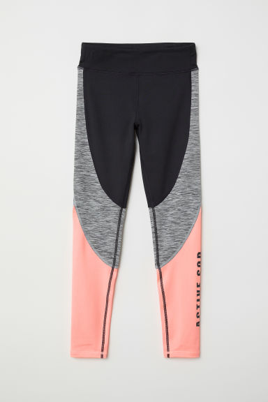 Sports tights - Neon orange/Block-coloured - Kids | H&M