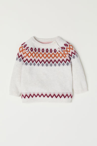 Jacquard-knit jumper - Light beige/Patterned - Kids | H&M