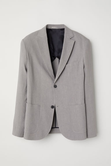 Linen-blend jacket - Grey - Men | H&M