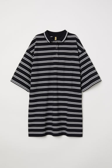 T-shirt dress with a collar - Black/White striped - Ladies | H&M CN