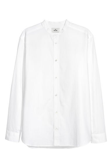 Grandad collar shirt - White -  | H&M