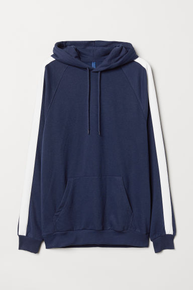 Hooded top with sleeve stripes - Dark blue - Men | H&M GB