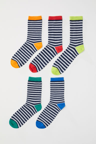 5-pack socks - Grey/Rainbow colours -  | H&M