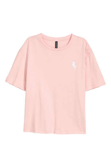 T-shirt with a motif - Old rose/Unicorn - Ladies | H&M CN