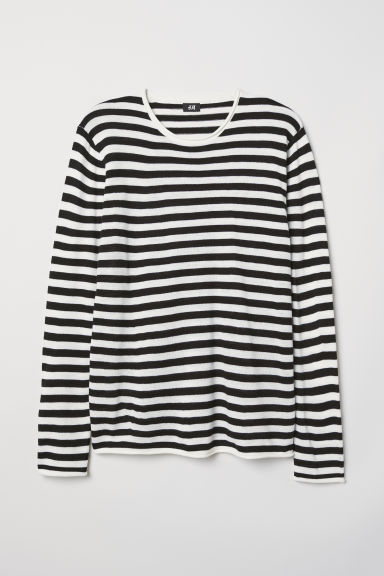 Fine-knit jumper - White/Black striped - Men | H&M