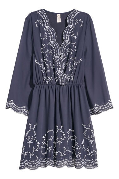 Embroidered dress - Dark blue - Ladies | H&M