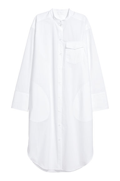 Pima cotton shirt dress - White - Ladies | H&M CN
