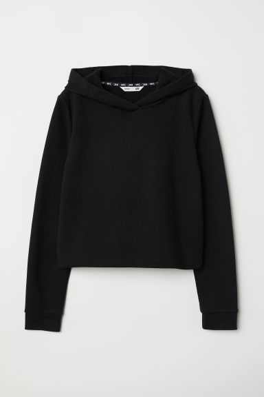 Short hooded top - Black - Kids | H&M CN