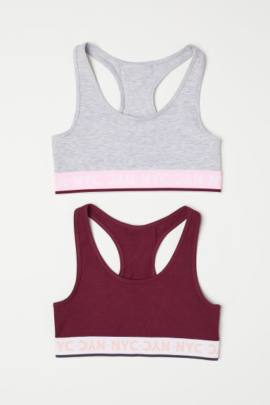 2-pack tops - Burgundy/Light grey marl - Kids | H&M CN