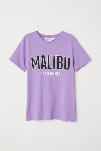Printed T-shirt - Purple/Malibu - Kids | H&M