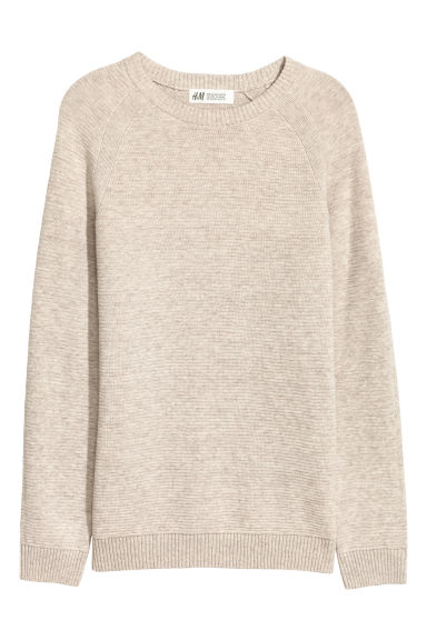 Textured-knit cotton jumper - Beige marl -  | H&M
