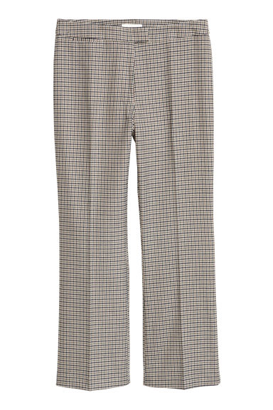 Ankle-length trousers - Beige/Dogtooth -  | H&M