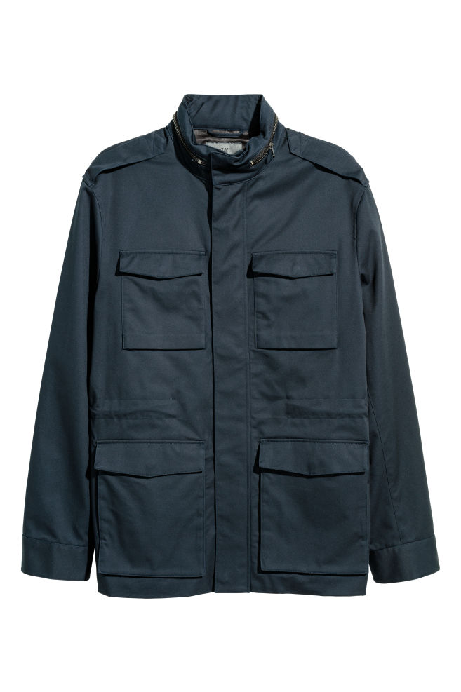 4ba43d82dd42 Cotton Twill Cargo Jacket - Dark blue - Men