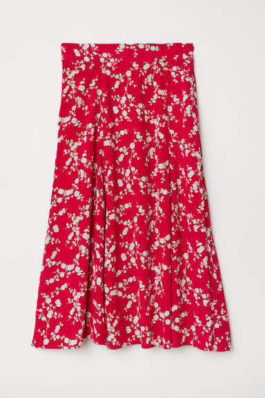 Calf-length skirt - Red/Patterned - Ladies | H&M