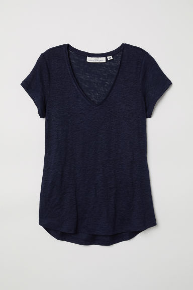 Top in lino - Blu scuro - DONNA | H&M CH