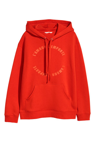 Printed hooded top - Red/L'amour -  | H&M CN